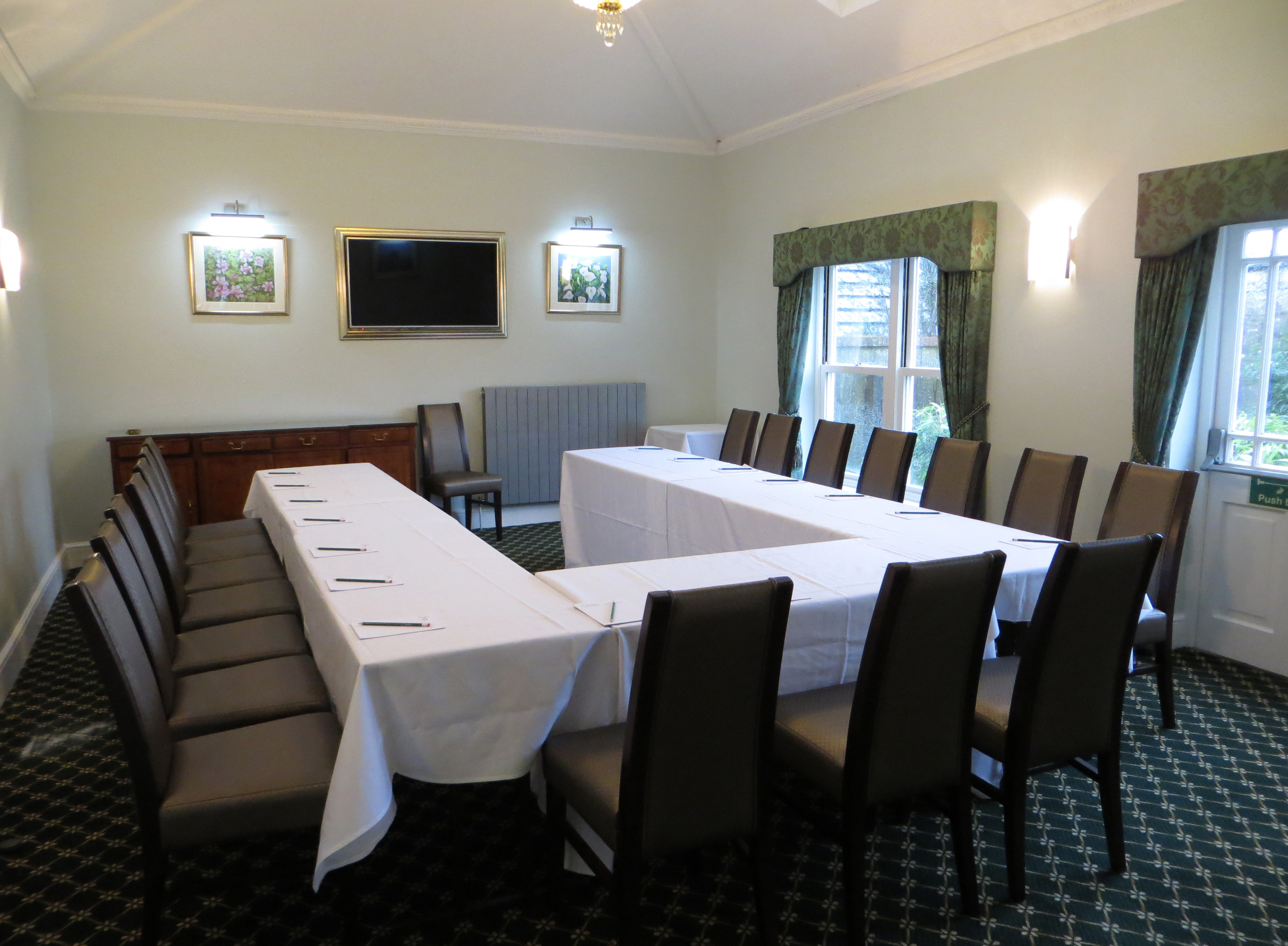 Barbury Room set up for U-shaped Business Meeting at Chiseldon House Hotel