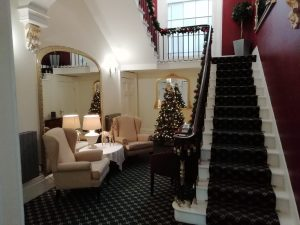 Main staircase decorated for Christmas