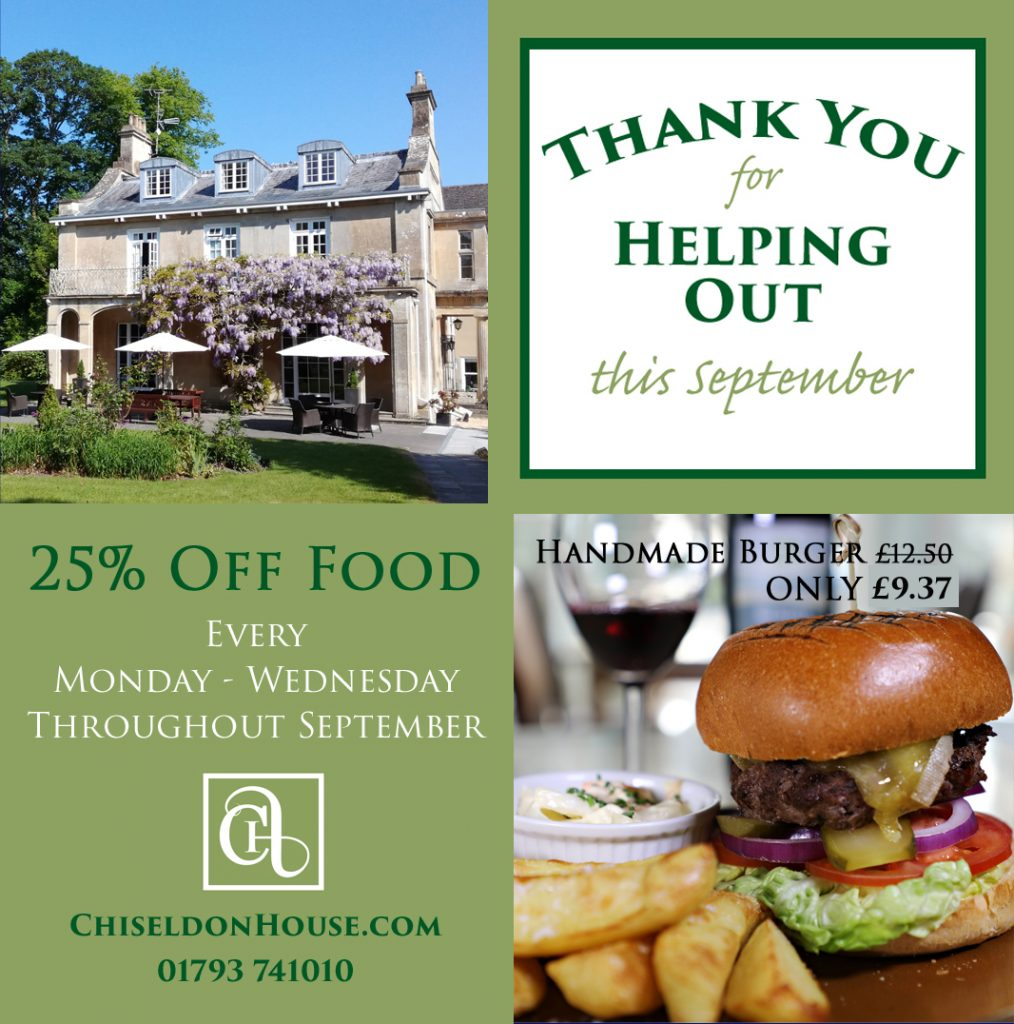 Thank you for helping out this September, 25% off food Monday to Wednesday. Handmade burger original price £12.50, with discount only £9.37